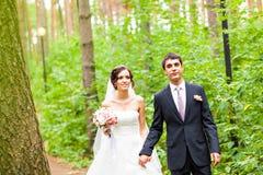 新郎和新娘在公园 礼服片段顺序婚礼 brewster 库存图片