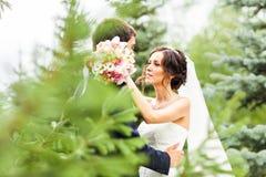 新郎和新娘在公园 礼服片段顺序婚礼 brewster 库存照片
