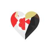 新郎和新娘心脏形状的 皇族释放例证