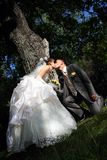 新郎和新娘的亲吻 免版税库存图片