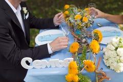 新郎和新娘的手 免版税库存图片