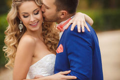 新郎在一个绿色公园亲吻新娘在夏天 免版税库存照片