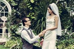 新郎在庭院里戴着新娘` s圆环 免版税图库摄影