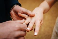 新郎在新娘的手指上把圆环放 库存图片