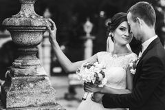 新郎在老后院拥抱站立与她的一个新娘 库存照片