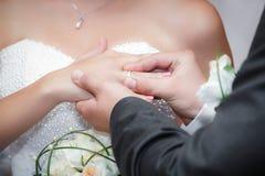 新郎新婚佳偶佩带圆环新娘在婚礼夫妇 免版税库存图片