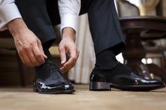 新郎鞋子或者企业鞋子 免版税图库摄影