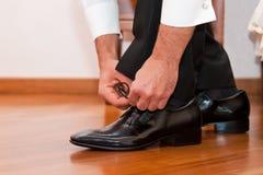 新郎鞋子 免版税库存图片