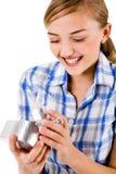 新配件箱礼品重点开放符号的妇女 免版税库存照片