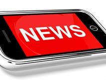 新闻在移动电话列为头条新闻 免版税库存图片