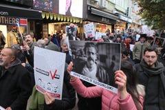 新闻工作者抗议 免版税图库摄影