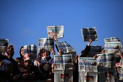 新闻工作者抗议 图库摄影
