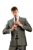 新音乐家播放单簧管 免版税库存图片