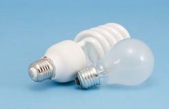 新颖的荧光灯白炽热电灯泡 库存照片