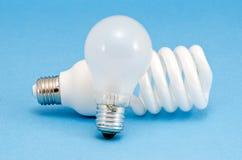新颖的荧光灯白炽热电灯泡 库存图片