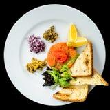 新鲜三文鱼鞑靼与在a的油煎方型小面包片、沙拉和柠檬切片 免版税库存图片