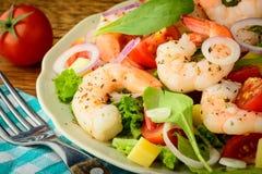 新鲜和健康虾沙拉 免版税库存照片