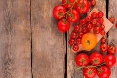 新鲜和成熟藤蕃茄,木板 免版税库存图片
