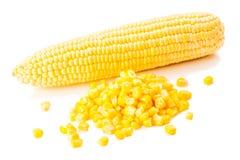 新鲜和罐子玉米 免版税库存图片