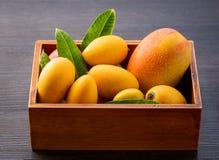 新鲜和美丽的芒果果子在黑暗的木背景,拷贝spacetext空间的一个木箱设置了 库存图片