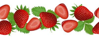新鲜和水多的草莓,与叶子的卡片 水平的条纹, 免版税库存图片