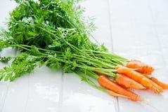 新鲜束的红萝卜 免版税库存照片