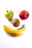 新鲜果子苹果计算机红色绿色猕猴桃香蕉面孔兴高采烈的标志的食物 库存图片