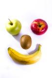 新鲜果子苹果计算机红色绿色猕猴桃香蕉面孔兴高采烈的标志的食物 免版税图库摄影