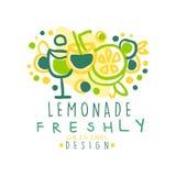 新鲜柠檬水原始的设计商标,自然健康产品徽章五颜六色的手拉的传染媒介例证 库存例证