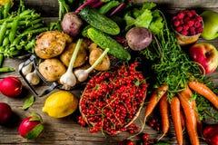 新鲜水果、莓果和菜 免版税库存照片