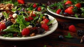 新鲜水果沙拉用蓝莓、草莓莓、核桃、希腊白软干酪和绿色菜 r 库存图片