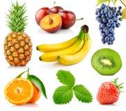 新鲜水果绿色叶子设置了 免版税库存图片