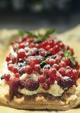 新鲜水果馅饼用莓、红醋栗、黑醋栗和奶油 库存图片