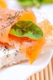 新鲜的三文鱼三明治 免版税库存照片