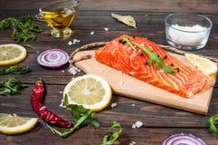 新鲜的三文鱼内圆角的可口部分用芳香草本、香料和菜-健康食物,饮食或烹调概念 库存图片
