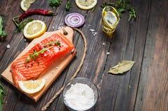 新鲜的三文鱼内圆角的可口部分用芳香草本、香料和菜-健康食物,饮食或烹调概念 库存照片
