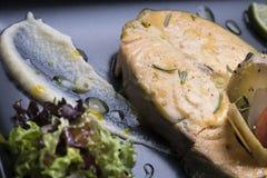 新鲜的三文鱼服务用射击的水煮的土豆和蔬菜泥8close 免版税库存照片