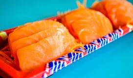 新鲜的三文鱼生鱼片 免版税库存照片