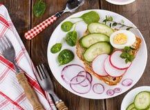 新鲜的三明治用鸡蛋、萝卜和黄瓜 库存图片