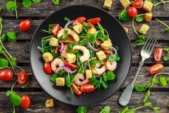 新鲜的健康大虾沙拉用蕃茄,在黑色的盘子的红洋葱 概念健康食物 库存照片