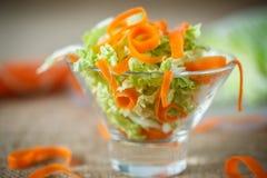 新鲜的切好的圆白菜和红萝卜沙拉  免版税库存图片