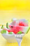 新鲜的切的西瓜 免版税库存图片