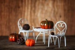 新鲜的南瓜在椅子的内部木室 库存图片