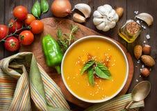 新鲜的南瓜汤与和菜 免版税图库摄影