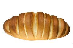 新鲜的可口大面包,在白色背景隔绝的面包 顶视图 免版税库存图片