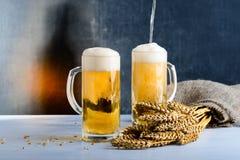 新鲜的啤酒在反对黑暗的背景的两块玻璃中 Oc的概念 免版税库存图片
