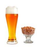 新鲜的啤酒&花生在玻璃XXL 库存图片