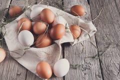 新鲜的在土气木头,有机耕田概念的鸡红皮蛋 免版税库存照片