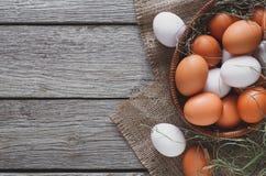 新鲜的在大袋,有机耕田背景的鸡红皮蛋 库存照片
