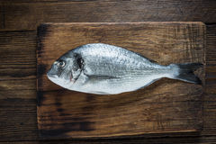 新鲜的在木板的抓住整个鱼 免版税库存图片